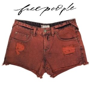 Free People red distressed acid washed shorts 26